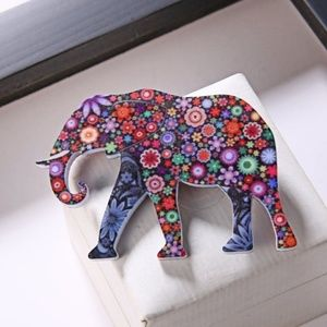 Jewelry - 3/$15~Floral Elephant Pin